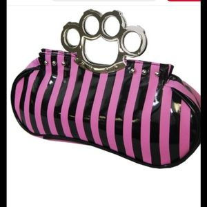 Too fast pink and black brass knuckle purse